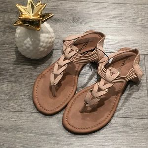 Triangle Faux Suede Sandals